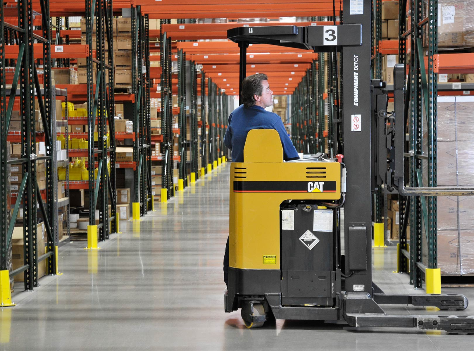forklift  in distribution center